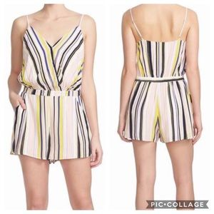 1. State Far Out Striped Romper VNeck Sz S